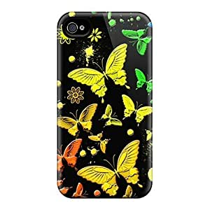 Awesome Design Rainbow Butterflies Hard Case Cover For Iphone 4/4s