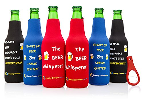 Beer Bottle sleeves- Set of 6 Multi Color Zipper Coolies with Funny Quotes - Thick Neoprene - Fully stitched, Non-Glued Base - Thermosuit Cooler + Bottle Opener - Trendy & Awesome any occas. Gift #3FQ ()