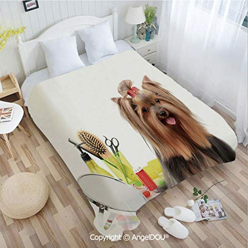 AngelDOU Warm air Conditioner Flannel Blanket W59 xL78 Yorkshire Terrier with Stylish Hairdressing Equipment Mirror Scissors Decorative for Bed Cover Sofa car use.