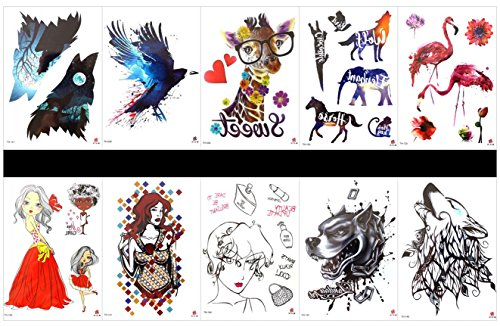 SPESTYLE 10pcs tattoo eagle tattoos waterproof and non toxic real fake tattoos in 1 packages,including crane,beautiful lady,wolf,eagle,giraffe,horse,elephant,etc. by SPESTYLE