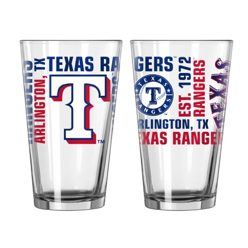 MLB Texas Rangers Spirit Pint Glass Set (Pack of 2), (Texas Rangers Glass)