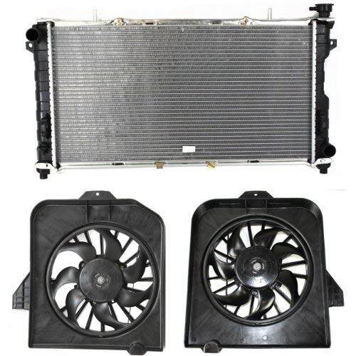 Radiator Kit Compatible with DODGE Caravan/Grand Caravan/Town & Country 2001-2004 Set of 3 With Fan Shroud Assembly and A/C Condenser Fan Assembly A/c Condenser Fan Shroud Assembly