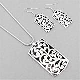 Decorative Silver Western Dog Tag Filigree Necklace Earring Set offers