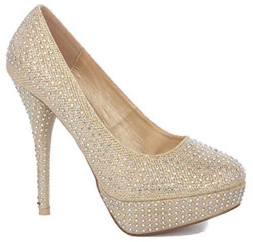 NEW WOMENS LADIES PLATFORM PARTY PROM WEDDING BRIDAL WORK HIGH HEELS STILETTO COURT SHOES PUMPS SIZE 3-8 Gold Diamante