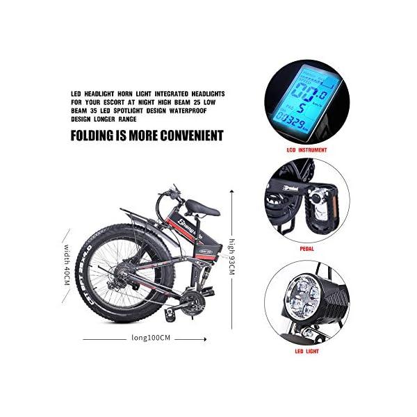 26 Pollici Fat Tire Electric Bike 1000W 48V Snow E-Bike Shimano 21 velocità Beach Cruiser Mens Women Mountain e-Bike… 5 spesavip