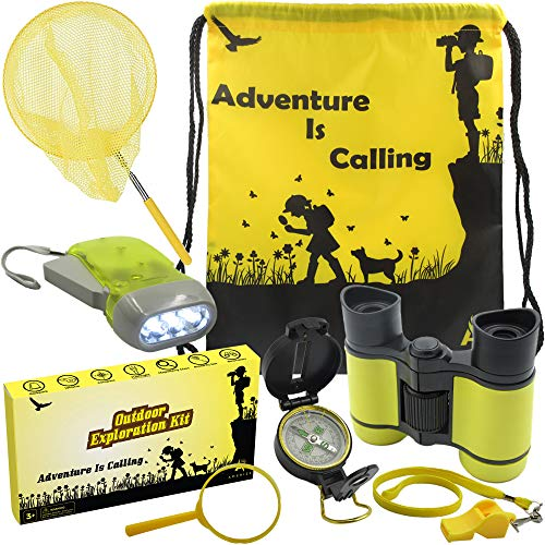 Outdoor Exploration Kit: Kids Adventure Set, Toy Binoculars, Compass, Flashlight, Whistle, Magnifying Glass, Butterfly Net, Backpack. Great Kids Gift Set for Boys, Girls, Camping, Hiking, Educational