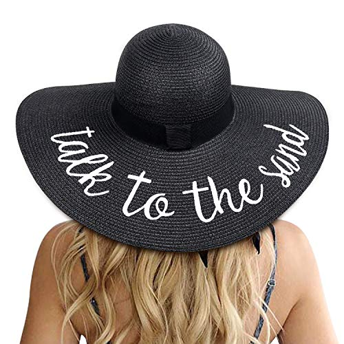 Womens Big Bowknot Straw Hat Floppy Foldable Roll up Beach Cap Sun Hat UPF 50+ (Talk to The Sand: Black)