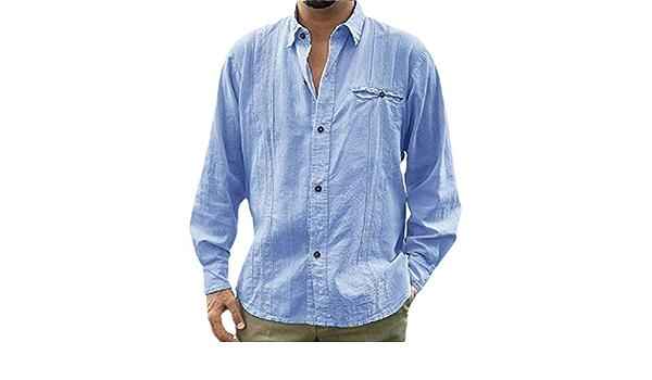 dahuo Camisa de Lino Cubano de Manga Larga con Botones y ...