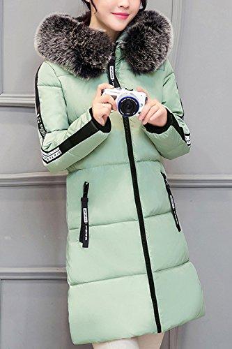 Globo Casual Parkas Forradas Coat Cremallera Abrigos Invierno Faux Con Down Green De Fur Mujeres De Capucha Maxi Caliente qaxAFA
