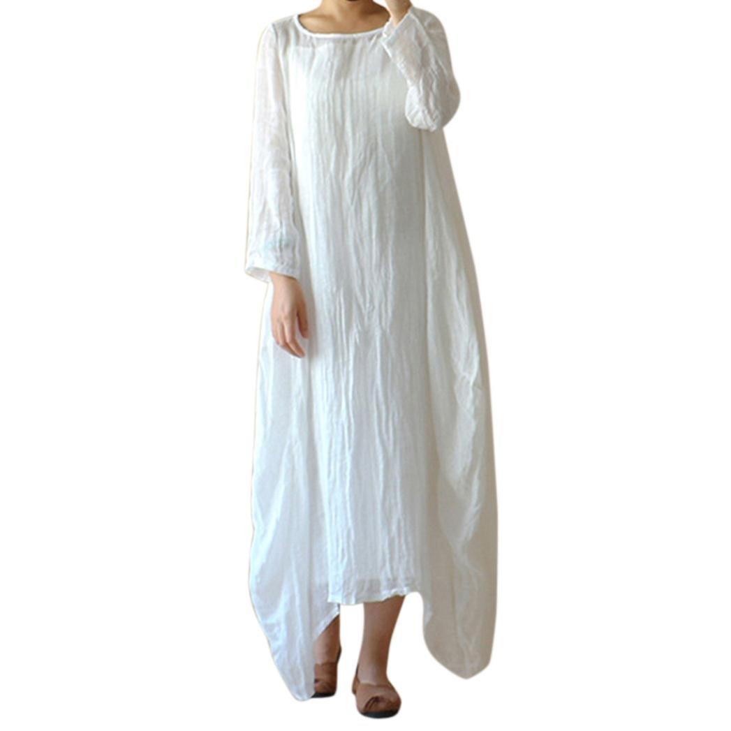330974deae Amazon.com  Koolee Women Plus Size Women Cotton Linen Solid Loose Vintage  Crew Neck Long Sleeve Casual Baggy Long Boho Dress (5XL