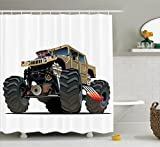 Oversized Shower Curtain Cars Decor Shower Curtain Set By Ambesonne, Extremely Large Giant Monster Pickup Truck With Huge With Oversized Tires Racing Illustration, Bathroom Accessories, 69W X 70L Inches, Multi