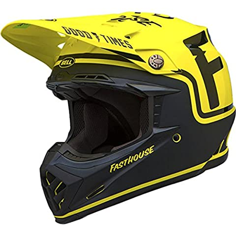 Bell Fasthouse Adult Moto-9 Off-Road Motorcycle Helmet - Black/Flo Yellow / Large