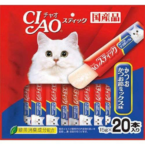 INABA Ciao Churu Stick Katsuo Mix [Bonito & Dried Bonito Mix] 20 x 3pack 60pcs