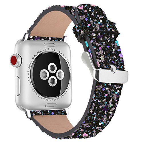 iiteeology Compatible with Apple Watch Band 38mm 40mm 42mm 44mm, Christmas Sparkly 3D Glitter Bling Leather iWatch Band for Apple Watch Series 4/3/2/1 Women Girls (Black, 42mm)