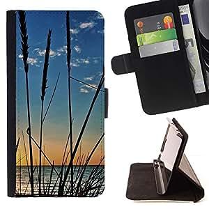 For Samsung Galaxy S4 Mini i9190 (NOT S4) Case , Naturaleza Cultivos Beach- la tarjeta de Crédito Slots PU Funda de cuero Monedero caso cubierta de piel