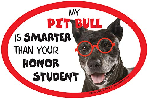Prismatix Decal Pit Bull Car Magnets: My Pit Bull is Smarter Than Your Honor Student - Oval 6