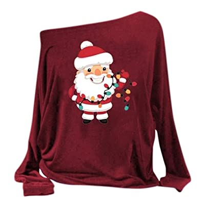 Women's Full Sleeve Funny Graphic Print Christmas Sweatshirt Loose Casual Pullover Tops: Clothing