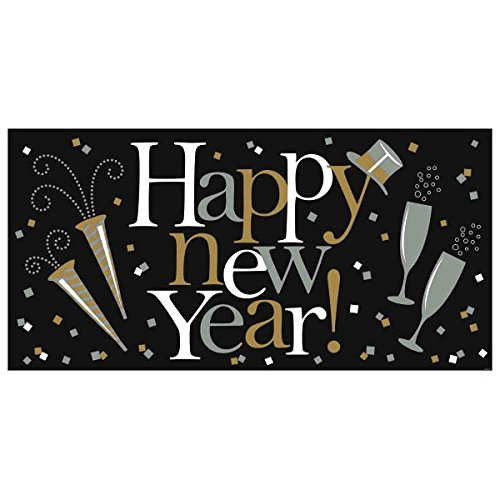 Amscan Grand New Year Party Horizontal Banner  Pack Of 1   Gold Silver Black  33 1 2  X 65  Large