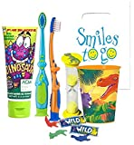 Dinosaurs Inspired 5pc. Ultimate Bright Smile Oral Hygiene Set! Toothbrush, Dino Brush Cap, Toothpaste, Floss & Mouthwash Rise Cup! Bonus ''The Good Dinosaur'' Postive Reinforcement Tattoos!