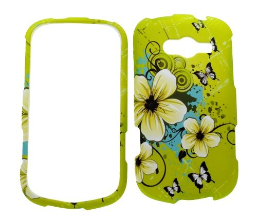 (Green Flower Rubberized Snap on Protective Cover Case for Samsung Galaxy Reverb M950)