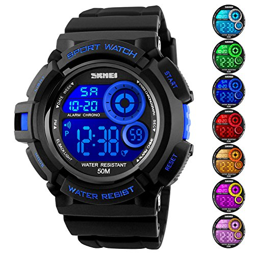 Men's Digital Sports Watch LED Screen Large Face Military Watches and Waterproof Casual Luminous Stopwatch Alarm Simple Army Watch Blue by USWAT