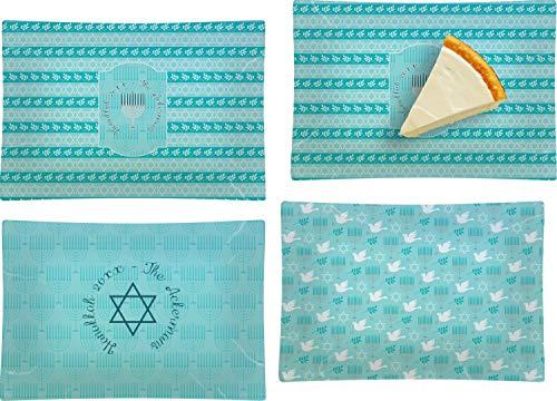 Hanukkah Set of 4 Glass Rectangular Appetizer/Dessert Plate (Personalized) ()