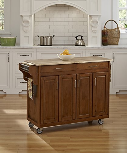 - Create-a-Cart Cottage Oak 4 Door Cabinet with Wood Top by Home Styles