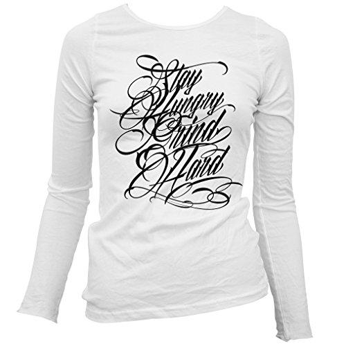 Freshism Women's Grind Hard Long Sleeve T-shirt - White, XX-Large