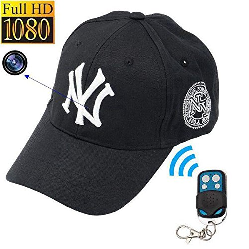 Mini camera 1080P HD NY Baseball cap model SPY Hidden Camera Video recorder mini DV DVR Spy cam Surveillance Remote control hats (Spy Digital Dvr)