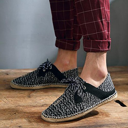 Canvas Casual Mens Shoes New Shoes 2018 C up Simple Loafers Fashion Flat Shoes Lace Flax Breathable HUAN pCwqq