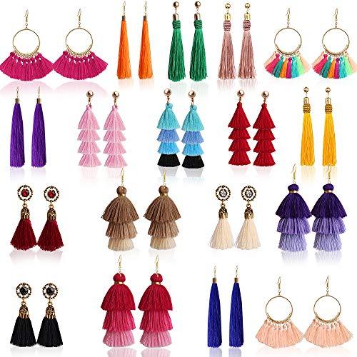 ONESING 18 Pairs Tassel Earrings Colorful Long Layered Thread Ball Dangle Earrings Tassel Hoop Fringe Bohemian Tiered Tassel Drop Earrings Stud Earrings Set Fashion Jewelry for Girls Women Gift
