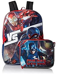 Marvel Boys' Captain America Backpack with Lunch Kit, Blue