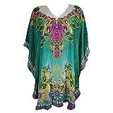 Mogul Women's Kaftan Loose Short Beach Dress Swimsuit Cover Up Caftan (Green-2)