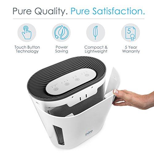 PureZone 3-in-1 True HEPA Air Purifier - 3 Speeds Plus UV-C Air Sanitizer -...