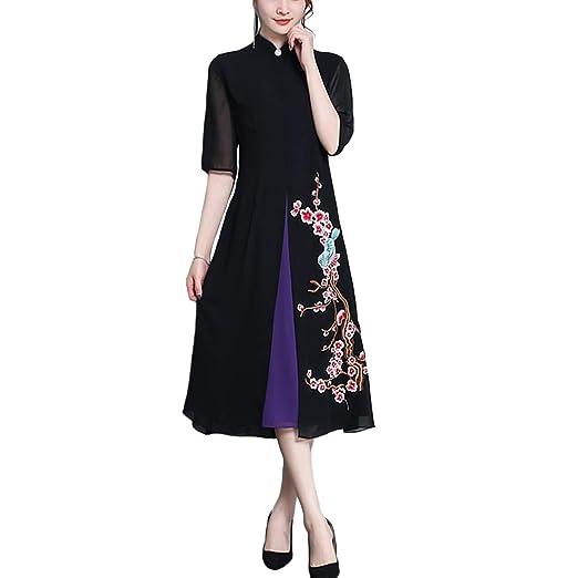 HÖTER Women s Qipao High Split Slim Dress Printed Long Sleeve Vintage  Chinese Silk Cheongsam(S ff77945bd248