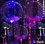18 Inch 5 PCS Led Light Up BoBo Balloon Colorful/ Warm White Lights, Fillable Transparent Balloons with Helium, Great for Christmas Party, House Decorations, Wedding and Party Decoration (colorful)