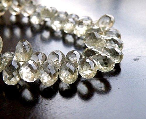 Green Amethyst Gemstone Briolette Prasiolite Faceted Teardrop Mint Sage 10mm 16 Beads (Briolette Teardrop Gemstone)