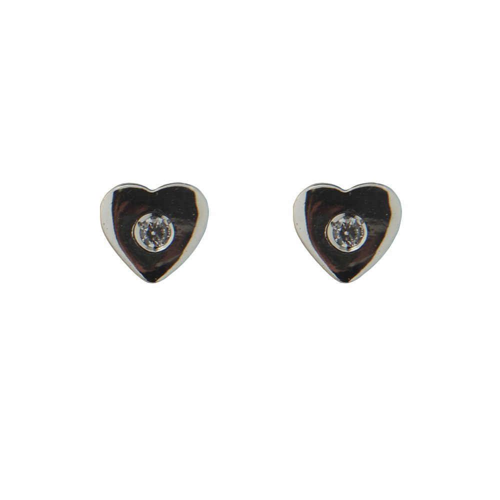 18Kt White Gold Heart With zirconia Center Screwback Earrings 5mm