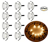 LED Deck Lights Kit, Low Voltage 10 pcs Waterproof IP65 Φ1.22'' Recessed Deck Lamp Warm White LED In-ground Lighting Outdoor Garden Yard Pathway Patio Step Stairs Landscape Decor Lamps