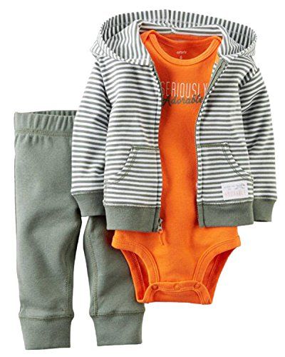 Kidsform Baby Boys Outfit Cotton 3-Piece Hoodie Jacket +Print Bodysuit+Pants Clothes Set Stripe ()
