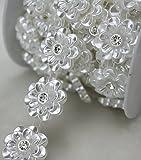 AEAOA 5 Yards 1'' White Flower Pearl Rhinestone Chain Sew On Trims Wedding Dress Decoration (LZ96)