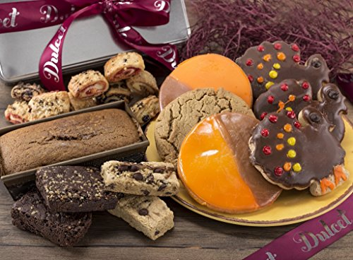 Thanksgiving Gift Basket Gourmet :Orange and Brown Cookies, Pumpkin Loaf, Walnut Brownies, , Turkey Cookies, Best of All Our Assorted Rugelach.Thanksgiving Fall Gift Idea!
