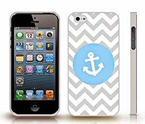 iStar Cases? iPhone 5/5S Case with Chevron Pattern Grey Stripe Light Blue / White Anchor , Snap-on Cover, Hard Carrying Case (White)