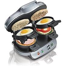 Hamilton Beach 040094923793 25490A Dual Breakfast Sandwich Maker, Double w/Timer, Silver