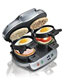 Hamilton Beach 040094923793 25490A Dual Breakfast Sandwich Maker, Double w/Timer, Silver