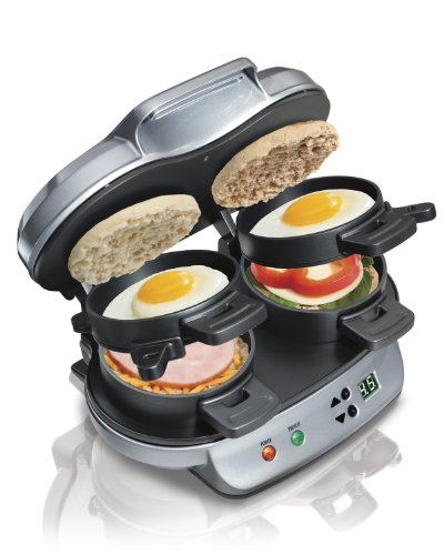 Hamilton Beach 040094923793 25490A Dual Breakfast Sandwich Maker, Double w/Timer Silver from Hamilton Beach
