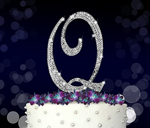 Monogram Silver Metal (Letter Q, Initials, Happy Birthday Cake Topper, Wedding, Anniversary, Vow Renewal, Crystal Rhinestones on Silver Metal, Party Decorations, Favors)