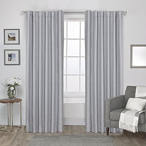 Exclusive Home Curtains Zeus Solid Textured Jacquard Blackout Window Curtain Panel Pair with Back Tab Top, 52x84, Dove Grey, 2 Piece