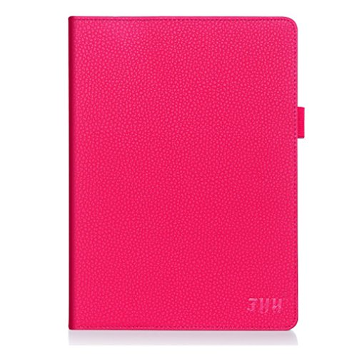 FYY Case for iPad Air 2 - Premium PU Leather Case Smart Auto Wake/Sleep Cover with Hand Strap, Card Slots, Pocket for iPad Air 2 (only fit iPad Air 2) Magenta