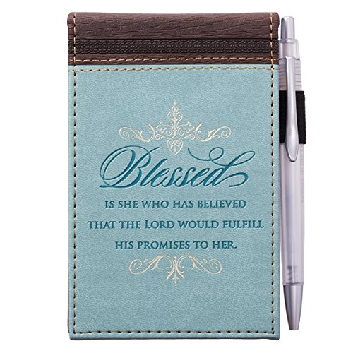 (Blessed LuxLeather Pocket Notepad With Pen, Light Blue and Brown )